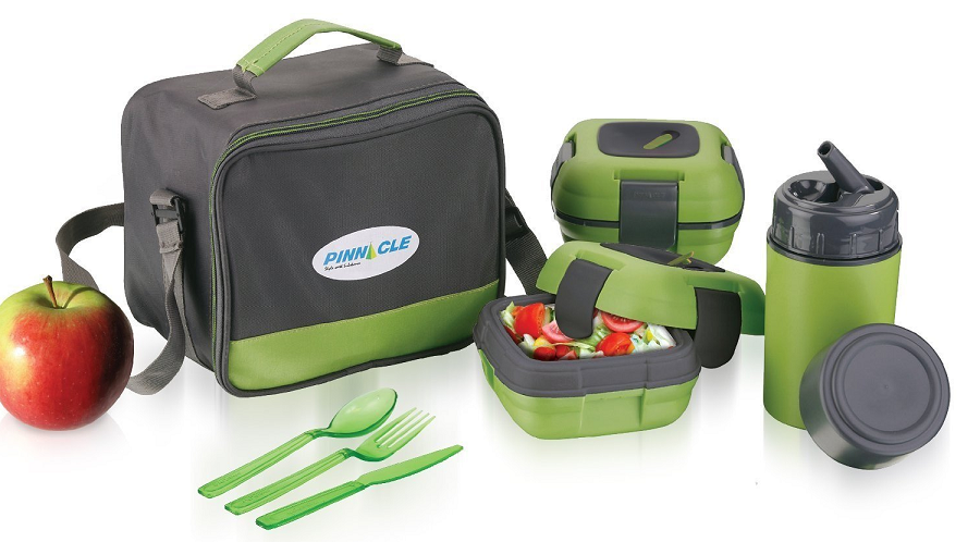Green : Lunch Box Bag Set for Adults and Kids ~ Pinnacle Insulated Leakproof Thermal Lunch KitLunch BagThermo bottle2 Lunch Containers With NEW Heat Release ValveMatching Cutlery (Green)