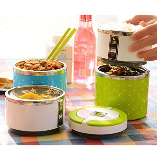 KAVID Lunch Box with Inner case,Round Shaped Premium Quality Insulated Lunch Box for Kids with Vaccum Air Hole, Stainless Steel Lunch Box for Kids