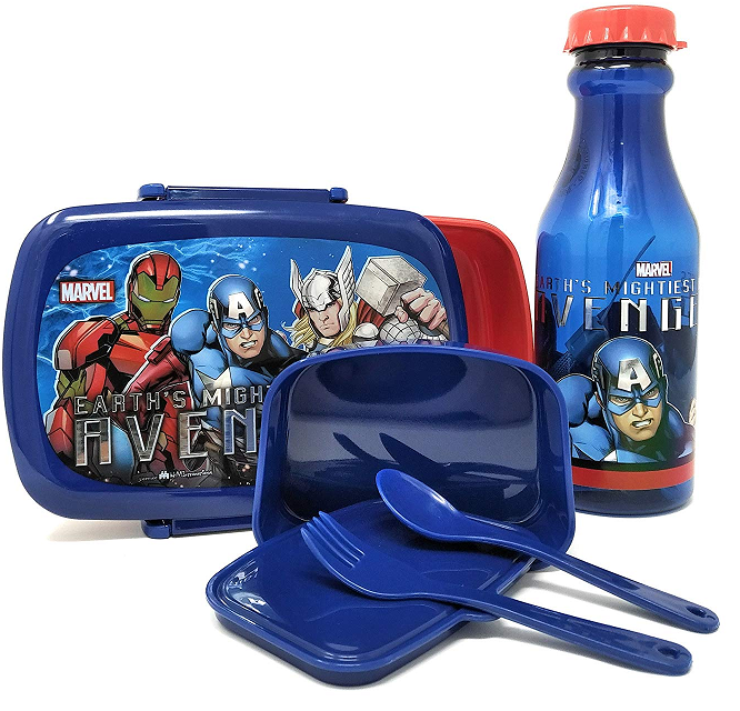 Original Marvel Avengers Licensed Plastic Lunch Box and Water Bottle Set